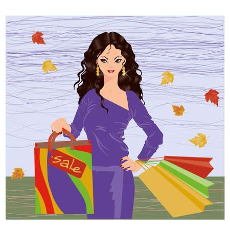 Autumn shopping brunette girl, vector illustration  Vector