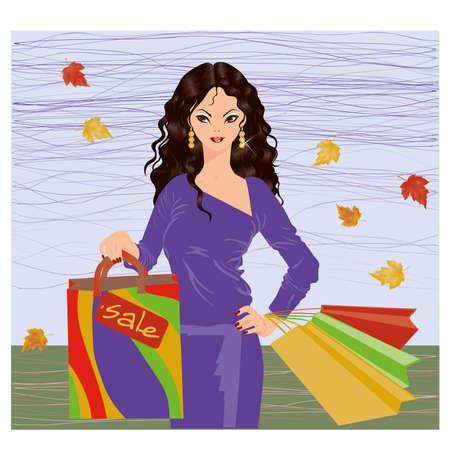 Autumn shopping brunette girl, vector illustration Stock Vector - 15523515