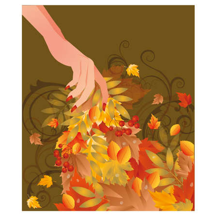 Autumn card with female hand, vector illustration Vector