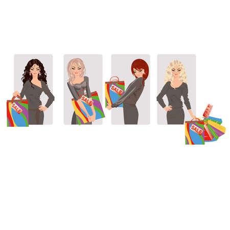 shoppingbag: Set shopping girls, vector illustration Illustration