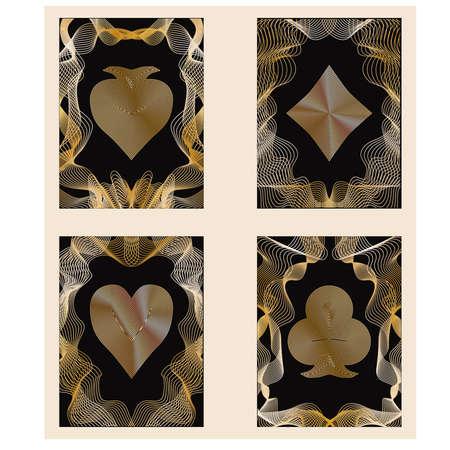 toke: Four golden poker cards, vector illustration