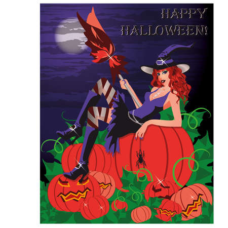 Happy Halloween card  Sexy witch with a pumpkin Vector