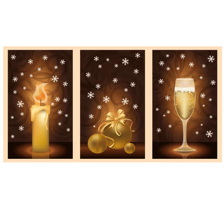 Glasses of champagne and candles: Set golden christmas banners, vector illustration Hình minh hoạ