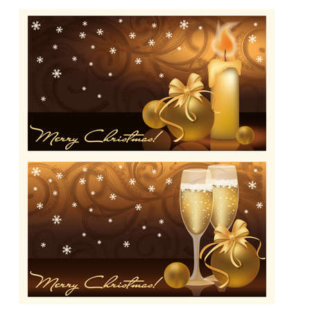 Glasses of champagne and candles: Two golden xmas banners, vector illustration Hình minh hoạ