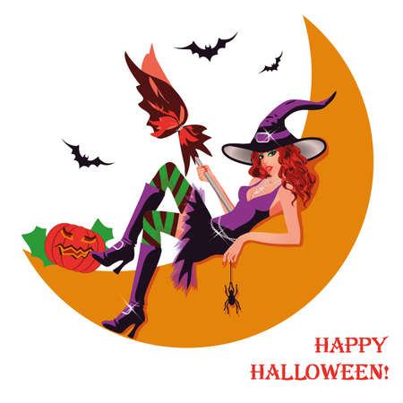 Halloween witch and moon Vector