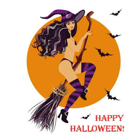 strega che vola: Halloween strega sessuale volare su una scopa Vettoriali