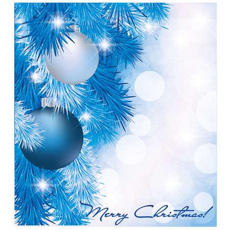Christmas card with blue silver balls Vector