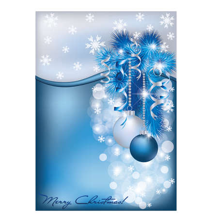 Christmas blue silver card Vector