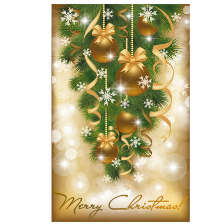 Merry Christmas card with golden balls Vector
