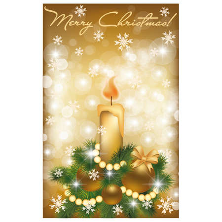 Merry Christmas golden card, illustration  Vector