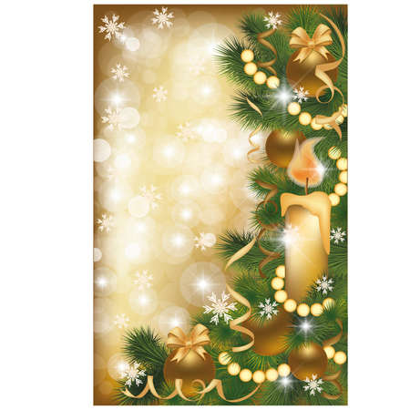 Christmas golden banner, illustration  Vector
