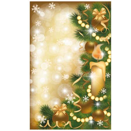 Kerstmis gouden banner, illustratie