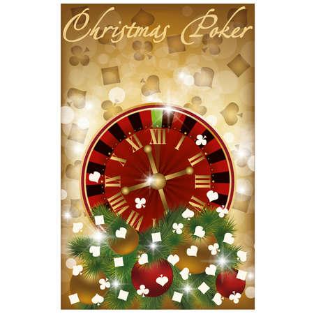 Merry Christmas poker banner, vector illustration Stock Vector - 15858856