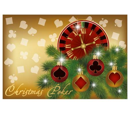 card game: Christmas poker banner, vector illustration  Illustration