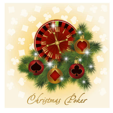 Christmas poker greeting card, vector illustration Stock Vector - 15858860