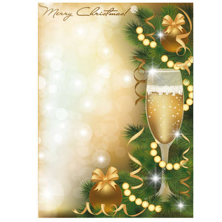 Merry Christmas greeting card with champagne , vector illustration Vector