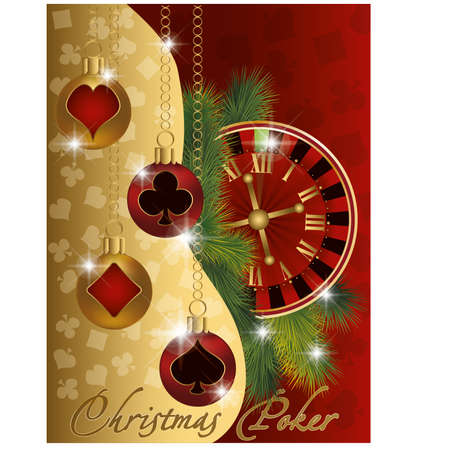 Christmas poker greeting banner, vector illustration  Vector