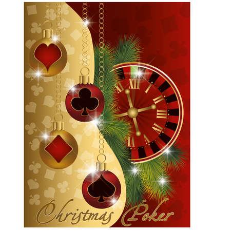 Christmas poker greeting banner, vector illustration Stock Vector - 15921260
