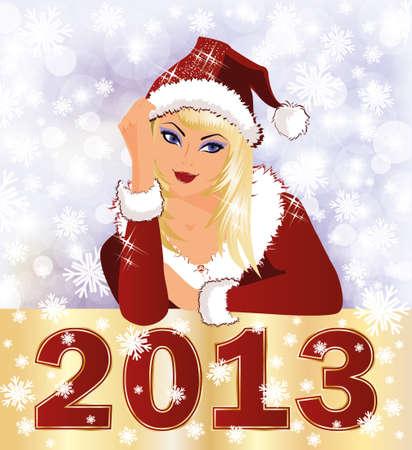 New 2013 Year card with Santa girl Stock Vector - 16015366