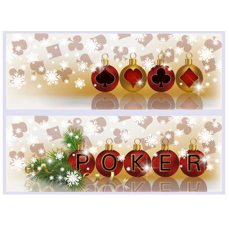 Christmas poker banners, illustration Stock Vector - 16111225