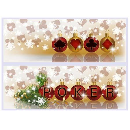 Christmas poker banners, illustration Stock Vector - 16111225