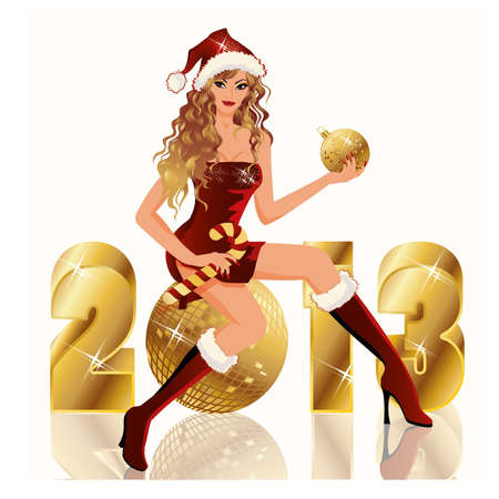 New golden 2013 Year and Santa girl, vector illustration Stock Vector - 16218659