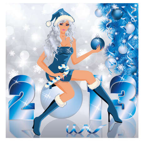 New  2013 Year and Santa girl , vector illustration Stock Vector - 16218662