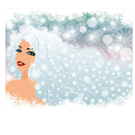 Snow girl, vector illustration Stock Vector - 16218664