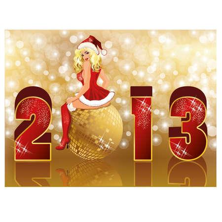 New 2013 year card with sexy santa girl vector Stock Vector - 16295521