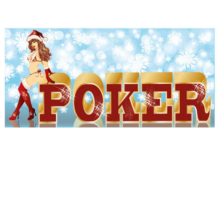 Christmas poker banner with sexy santa girl, vector illustration Stock Vector - 16295526