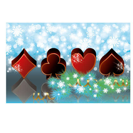 Christmas casino banner with poker elements, vector illustration Stock Vector - 16295529