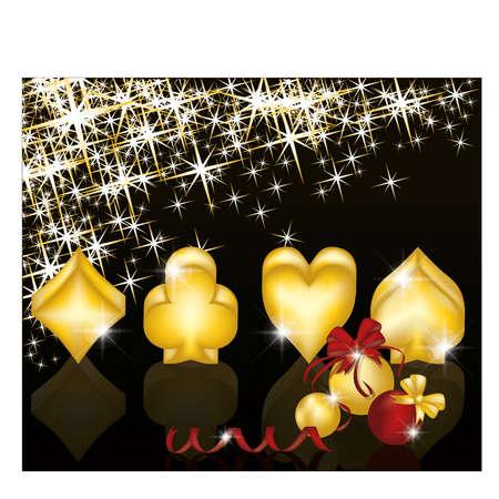 coeur diamant: Carte de voeux de Noël de poker, illustration vectorielle