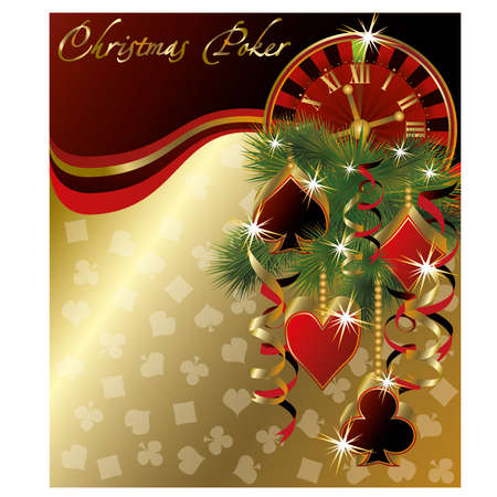 gambler: Christmas poker greeting background, vector illustration