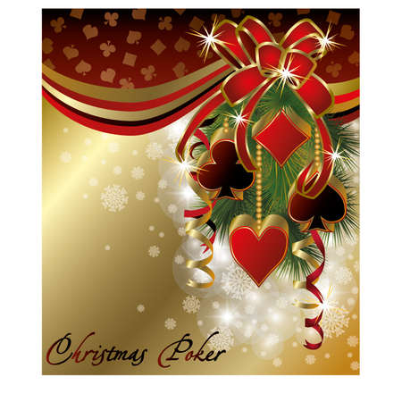 Casino background with poker christmas balls, vector illustration Stock Vector - 16392392
