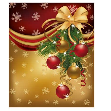 Merry Christmas red golden background, vector illustration  Illustration