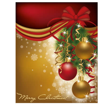 Christmas red golden card background  Vector