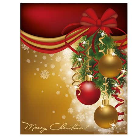 Kerstmis rode gouden kaart achtergrond