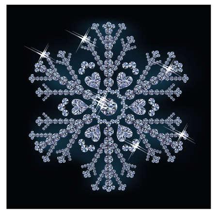 Diamond snowflake, vector illustration Vetores
