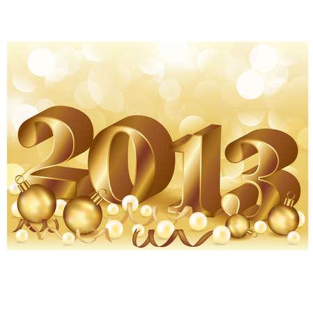 New 2013 golden year,  illustration Çizim