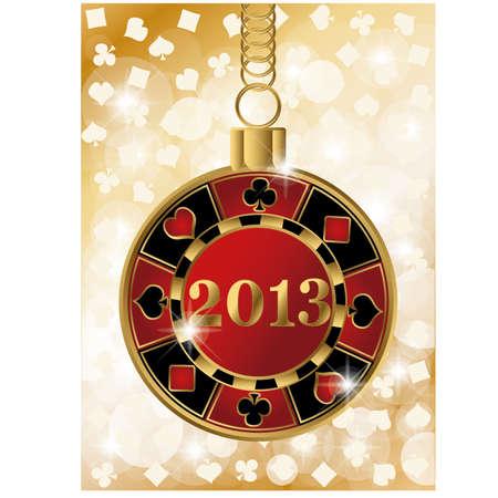 Kerst casino banner met 2013 poker chip Stock Illustratie