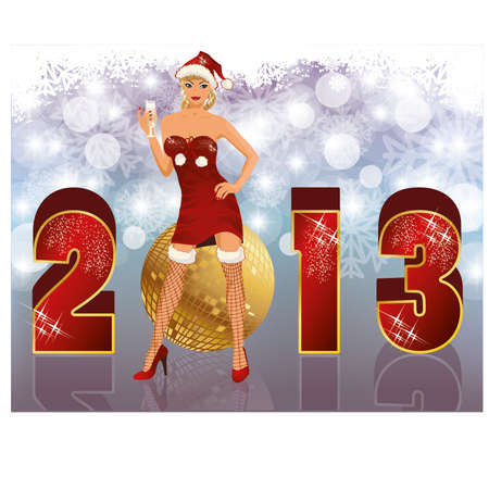 New 2013 year banner with sexual santa girl, vector illustration  Vector