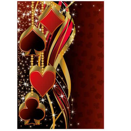 cartas de poker: Navidad pancarta de saludo poker, ilustración vectorial