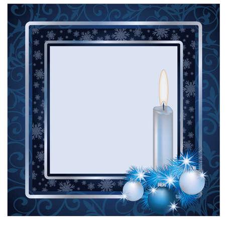 christmas photo frame: Winter xmas frame scrapbooking, vector illustration Illustration