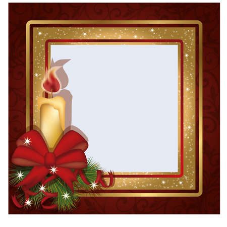 Christmas invitation photo frame scrapbooking, illustration Vector