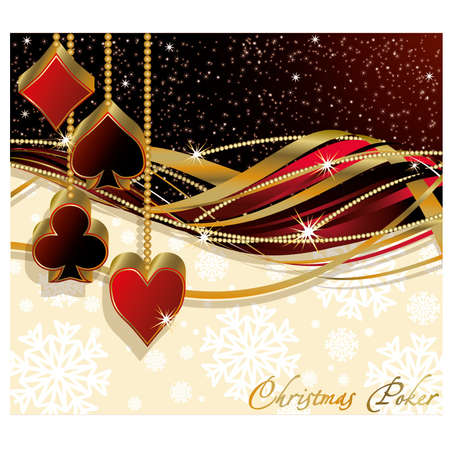 Christmas poker greeting card, illustration Illustration