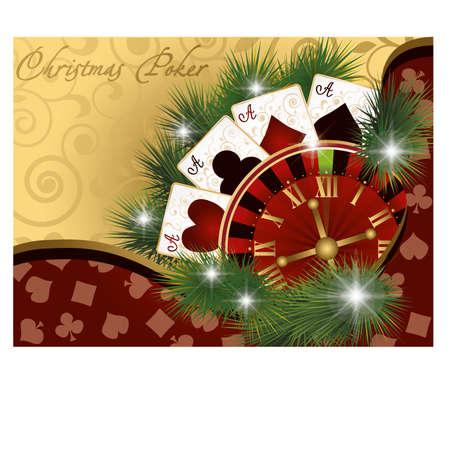 Christmas poker postcard, illustration Stock Vector - 16655779