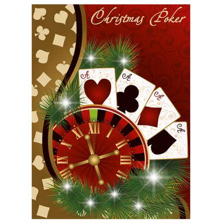 Christmas poker banner, illustration Vector