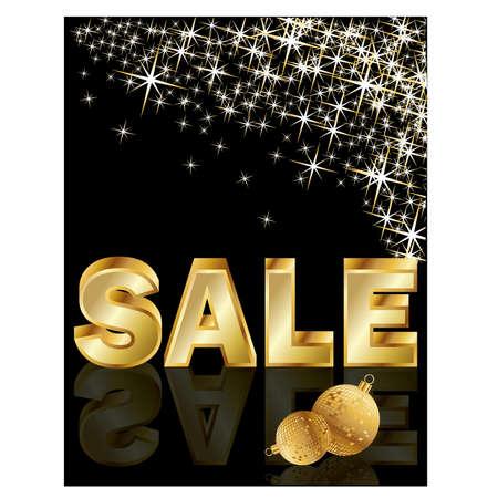 Mirror Ball: Christmas golden sale, vector illustration