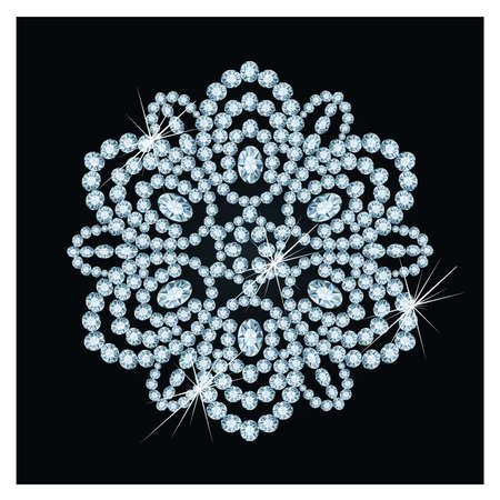 Diamond xmas snowflake, illustration  Illustration