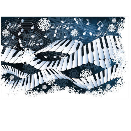 musical ornament: Winter music  card vector illustration